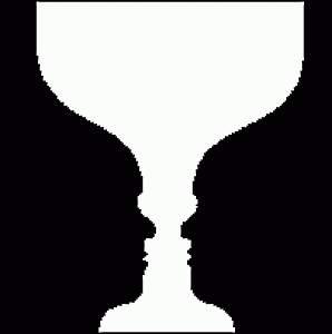 оптическая иллюзия ваза или 2 лица