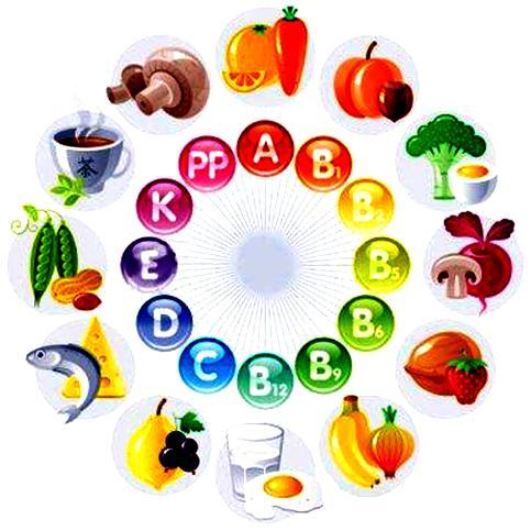польза витаминов, содержание витаминов в продуктах
