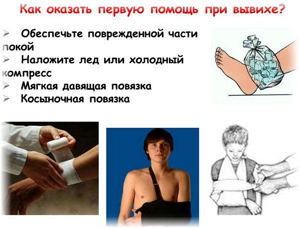 первая помощь при вывихе сустава