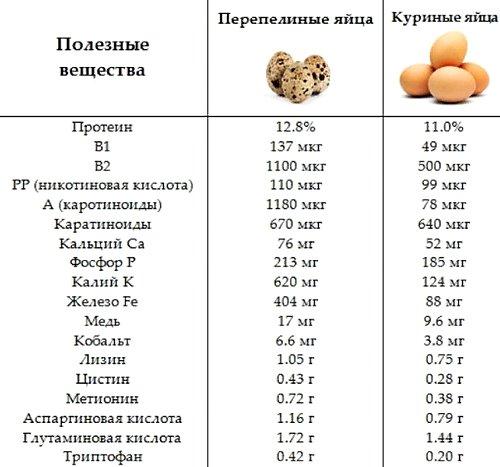 химический состав перепелиных яиц в отличие от куриных